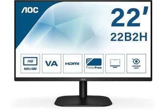 """AOC 21.5"""" 75Hz FHD Flicker-Free Frameless VA Monitor (22B2H) HT"""