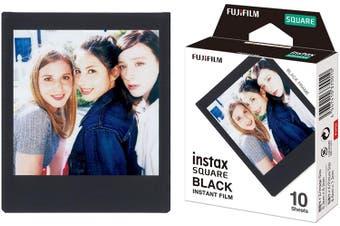 Fujifilm Instax Square Frame Film Sheets 10 Pack, Black