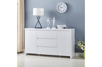 High Gloss White Piano Finish Buffet Sideboard with 3 Drawers