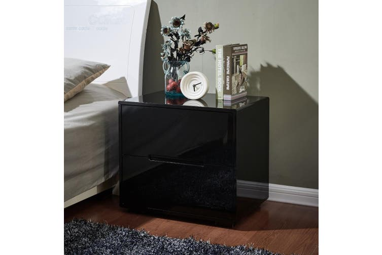 Designer High Gloss Black Finish Bedside Table Nightstand