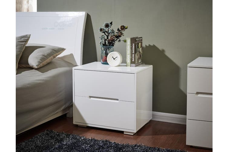 Designer High Gloss White Finish Bedside Table Nightstand