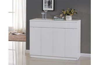 1.2M High Gloss 2PAC Finish White Wooden Shoe Cabinet 35CM Depth