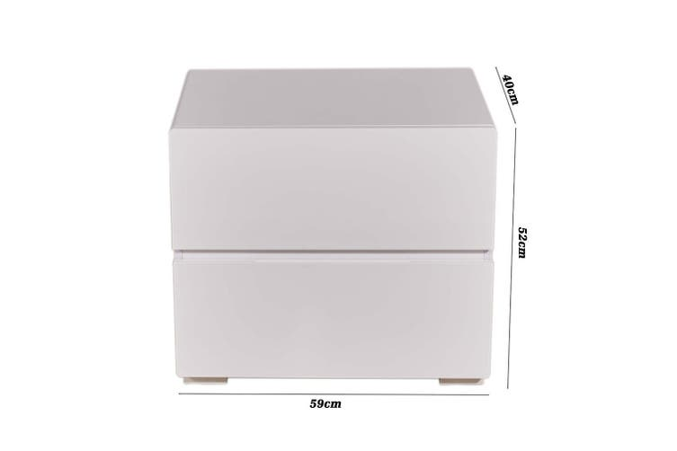 High Gloss White Bedside Table Nightstand With 2 Drawers