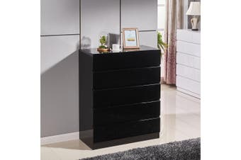 High Gloss Piano Finish Tallboy Cabinet with 6 Drawers Black