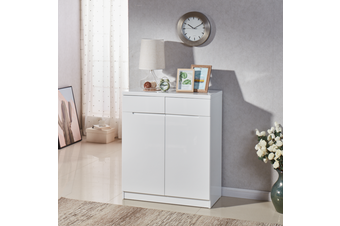 80CM Width High Gloss 2PAC Finish White Wooden Shoe Cabinet Fits US11 35cm Depth