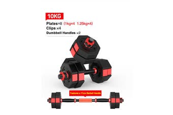 10KG Octagon Vinyl Weight Dumbbell Set with Barbell Bar Easy Clips Black Red