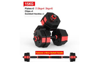 15KG Octagon Vinyl Weight Dumbbell Set with Barbell Bar Easy Clips Black Red