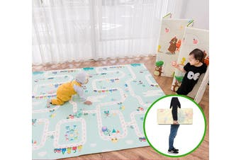 2x1.8m Foldable Baby Play Mat XPE Foam Double Sided 1cm Thick Free Carry Bag