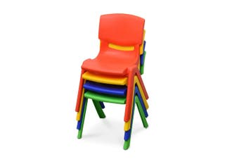 4x New Kids Plastic Chair in Mixed Colours Up to 100KG