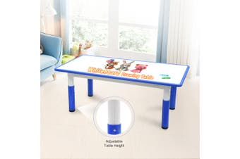 120x60cm Kids Height Adjustable Whiteboard Drawing Table Desk Blue