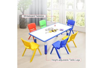 120x60cm Kids Blue Whiteboard Drawing Activity Table & 6 Mixed Chairs Set