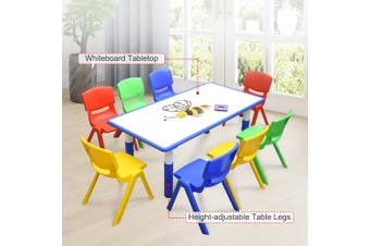 120x60cm Kids Blue Whiteboard Drawing Activity Table & 8 Mixed Chairs Set