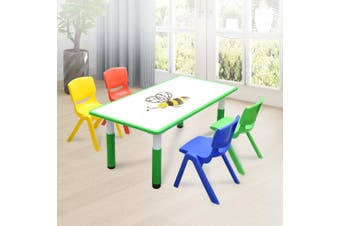 120x60cm Kids Green Whiteboard Drawing Activity Table & 4 Mixed Chairs Set
