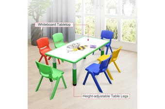 120x60cm Kids Green Whiteboard Drawing Activity Table & 6 Mixed Chairs Set
