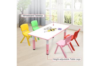 120x60cm Kids Pink Whiteboard Drawing Activity Table & 4 Mixed Chairs Set