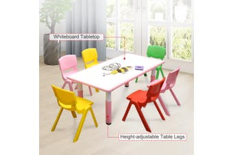 120x60cm Kids Pink Whiteboard Drawing Activity Table & 6 Mixed Chairs Set
