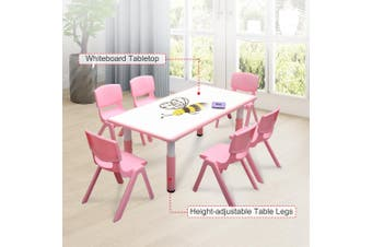 120x60cm Kids Pink Whiteboard Drawing Activity Table & 6 Pink Chairs Set