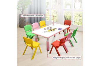 120x60cm Kids Pink Whiteboard Drawing Activity Table & 8 Mixed Chairs Set