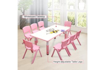 120x60cm Kids Pink Whiteboard Drawing Activity Table & 8 Pink Chairs Set