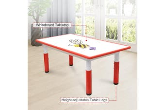 120x60cm Kids Height Adjustable Whiteboard Drawing Table Desk Red