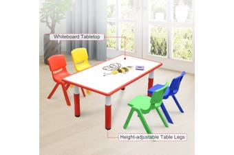 120x60cm Kids Red Whiteboard Drawing Activity Table & 4 Mixed Chairs Set
