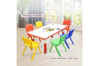 120x60cm Kids Red Whiteboard Drawing Activity Table & 6 Mixed Chairs Set