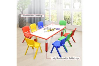 120x60cm Kids Red Whiteboard Drawing Activity Table & 8 Mixed Chairs Set