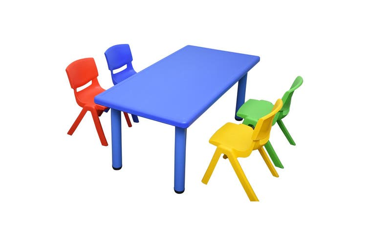 120x60cm Rectangle Blue Kids Table and 4 Mixed Chairs