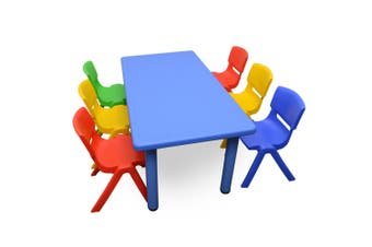 120x60cm Blue Rectangle Kids Table and 6 Mixed Chairs