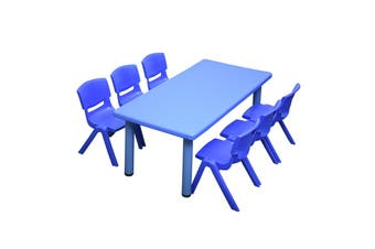 120x60cm Blue Rectangle Kids Table and 6 Blue Chairs