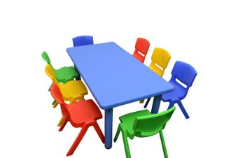120x60cm Blue Rectangle Kids Table and 8 Mixed Chairs