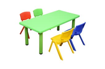 120x60cm Rectangle Green Kids Table and 4 Mixed Chairs