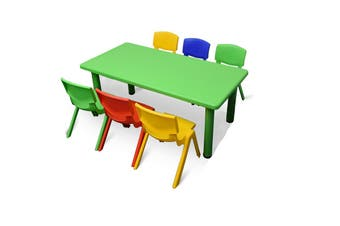 120x60cm Green Rectangle Kids Table and 6 Mixed Chairs