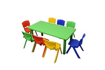 120x60cm Green Rectangle Kids Table and 8 Mixed Chairs