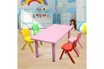 120x60cm Kid's Adjustable Rectangle Pink Table & 4 Mixed Chairs Set