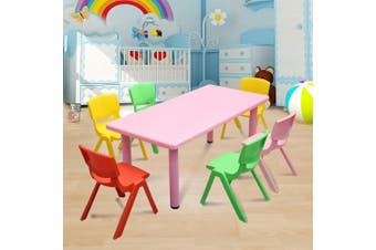 120x60cm Kid's Adjustable Rectangle Pink Table & 6 Mixed Chairs Set