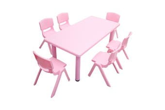 120x60cm Kid's Adjustable Rectangle Pink Table & 6 Pink Chairs Set