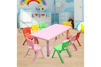 120x60cm Kid's Adjustable Rectangle Pink Table & 8 Mixed Chairs Set