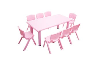 120x60cm Kid's Adjustable Rectangle Pink Table & 8 Pink Chairs Set
