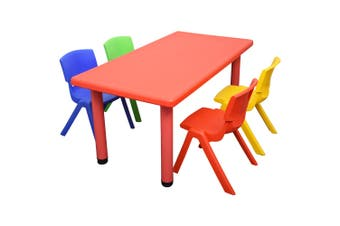 120x60cm Rectangle Red Kids Table and 4 Mixed Chairs