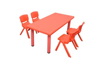 120x60cm Rectangle Red Kid's Table and 4 Red Chairs
