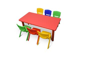 120x60cm Red Rectangle Kids Table and 6 Mixed Chairs