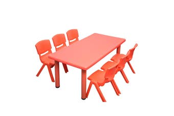 120x60cm Red Rectangle Kids Table and 6 Red Chairs