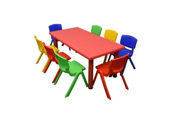 120x60cm Red Rectangle Kids Table and 8 Mixed Chairs