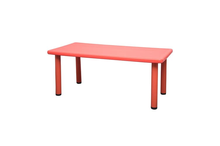 120x60cm Red Rectangle Kids Table and 8 Red Chairs