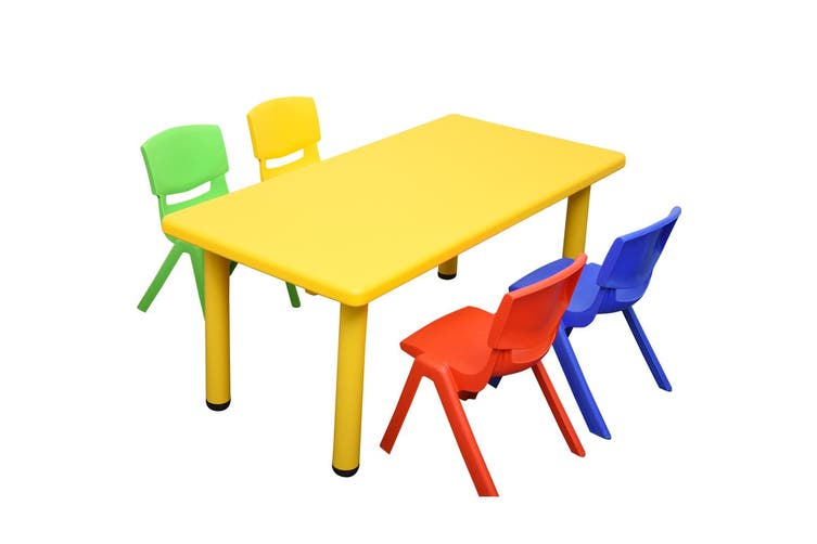 120x60cm Rectangle Yellow Kids Table and 4 Mixed Chairs
