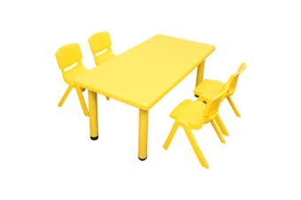 120x60cm Rectangle Yellow Kid's Table and 4 Yellow Chairs