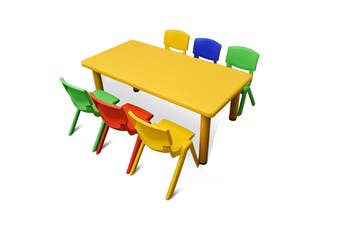120x60cm Yellow Rectangle Kids Table and 6 Mixed Chairs