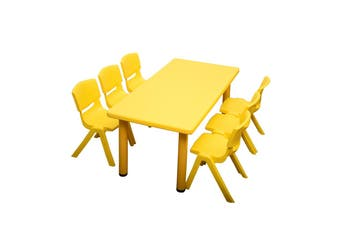120x60cm Yellow Rectangle Kids Table and 6 Yellow Chairs