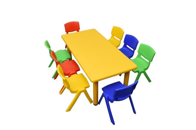 120x60cm Yellow Rectangle Kids Table and 8 Mixed Chairs